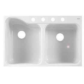 American Standard 7145.814.208 Silhouette 33-by-22-Inch Double Bowl Kitchen Sink with 4 Faucet Holes and Tile Edge, White Heat
