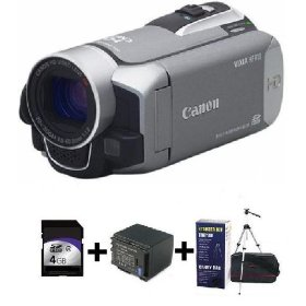 Canon HF R10SR Camcorder, 4GB Card, Extra Battery & Starter Kit Bundle
