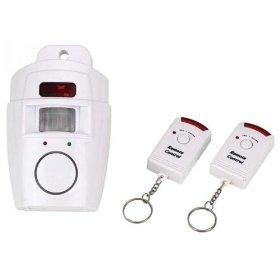 IR Detector Alarm w/ Dual Keychain Remotes, White