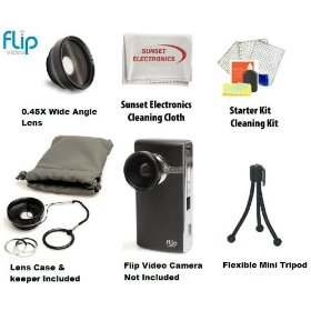Digital Flip Wide Angle Lens Kit For The Digital Flip UltraHD, Flip HD, Mino HD, Slide HD, U32120B, U32120W Package Includes Professional Extra Wide Angle Lens + Professional Mini Tripod Tripod + LCD Screen Protectors & More