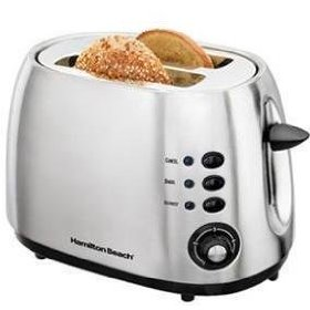 New Hamilton Beach Two-Slice Toaster Smudgeproof Brushed Finish Slide-Out Crumb Tray Toast Boost