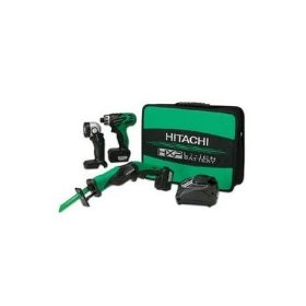 Hitachi KC10DBL 10.8 Volt Li Ion 3-Tool Combo Kit Includes Drill/Driver, Reciprocating Saw and Flashlight