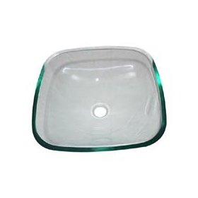 Inello Clear Square Tempered Glass Vessel Sink