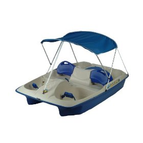 KL Industries Sun Slider Adjustable Seat Lounger Pedal Boat with Canopy
