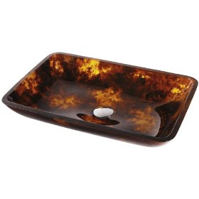 Kraus Autumn Rectangular Tempered Glass Bathroom Vanity Vessel Sink Bowl Basin