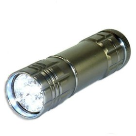 Neiko Super-Bright 9 LED Heavy-Duty Compact Aluminum Flashlight - Gunmetal Silver Color