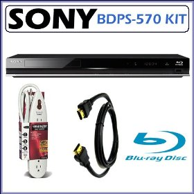 Sony BDP-S570 3D Capable and Wi-Fi Ready Blu-ray Disc Player with DVD Upscaling + Accessory Kit