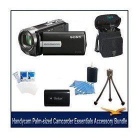 Sony DCR-SX65 Handycam Camcorder (Black) Value Bundle- Included High Capacity Spare Battery, Delixe Carrying Case, Mini Tripod, LCD Screen Protectors, and Lens Cleaning Kit