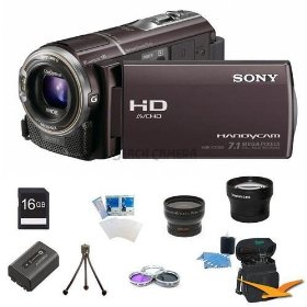 Sony HDR-CX360V High Definition Handycam Camcorder (Bordeaux) ULTIMATE BUNDLE With 16GB SD Card,Pro Wide Angle Lens, Pro Telephoto Lens, Deluxe Filter Kit, High Capacity Sony Original NPFV50 Spare Battery, Flexible Mini Table-top Tripod,3pc. Lens Cleaning