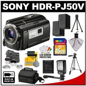 Sony Handycam HDR-PJ50V 220GB 1080p HD Video Camera Camcorder with Projector with 16GB Card + (2) Batteries + Case + Tripod + Light Bracket + Lens Set + Cleaning Kit