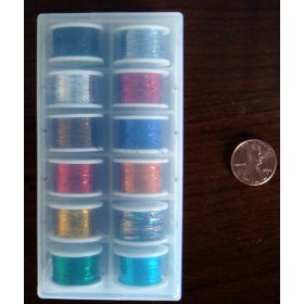 FLY TYING TINSEL ASSORTED COLORS 12 SPOOLS IN CASE